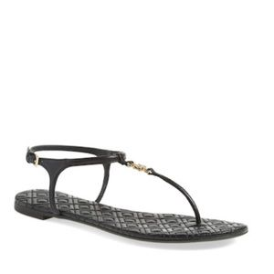 TORY BURCH ~ Marion quilted black sandal gold logo